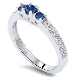 1/2ct Blue Diamond 3-Stone Ring 14K White Gold (G/H, I1)