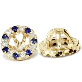VS 5/8ct Blue Sapphire & Diamond Earring Jackets 14k Yellow Gold (G/G, VS2-SI1)