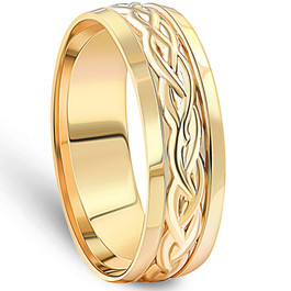 Hand Braided Wedding Band 14K Yellow Gold