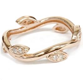 1/8CT Diamond Vine Leaf Ring 14K Rose Gold (H/I, I1-I2)