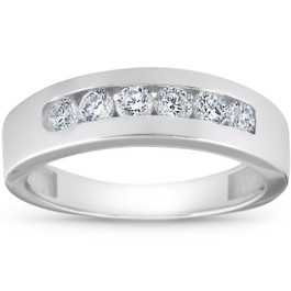 1ct Channel Set Mens Diamond Wedding Ring 14K White Gold (G/H, SI)