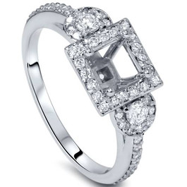 3/4ct Diamond Engagement Ring Semi Mount 14K White Gold (G/H, I1-I2)