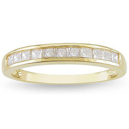 3/8ct Princess Cut Diamond Wedding Ring 14K Yellow Gold (H, I1-I2)