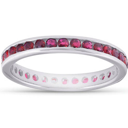 1 1/10ct Ruby Channel Set Eternity Ring 14K White Gold
