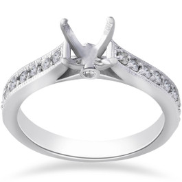 1/3ct Diamond Engagement Semi Mount Ring 14K White Gold (G/H, SI)
