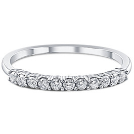 1/4ct 14K White Gold Diamond Wedding Stacker Guard Ring (G/H, I2)