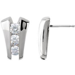 1.40CT 3 Stone Diamond Earrings 14K White Gold (G/H, I1)