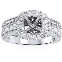 3/4ct Cushion Cut Halo Diamond Vintage Engagement Ring Setting Set (G/H, SI1-SI2)