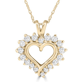 1/2 Carat Genuine Diamond Heart Pendant 14K Yellow Gold 18mm Tall (G/H, I1)