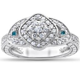 3/4ct Treated Blue & White Genuine Diamond Pave Engagement Vintage Ring 14k Gold (G/H, I2)