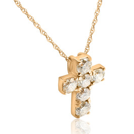 "1ct Diamond Cross Pendant 14K Yellow Gold 1/2"" Tall (G, I2)"
