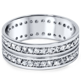 1 1/2ct Mens Diamond Eternity Ring Milgrain Accent 10K White Gold (H/I, I2)
