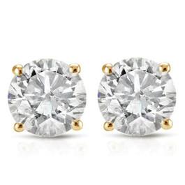 1 1/5CT Diamond Studs 14K White or Yellow Gold (J-K, I2-I3)