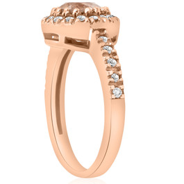 1ct Pave Diamond Morganite Halo Engagement Ring 14k Rose Gold (G/H, I1)