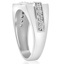 3/4ct Diamond Mens Wedding Ring 10k White Gold (G/H, I1)