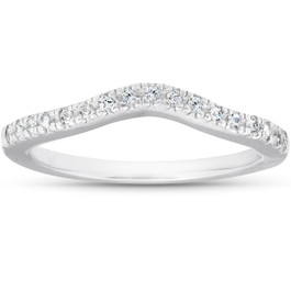 1/8ct Curved Diamond Wedding Ring 14K White Gold (G/H, I1-I2)