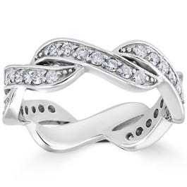 5/8 CT Diamond Infinity Anniversary Wedding Ring 14K White Gold (H/I, I1-I2)