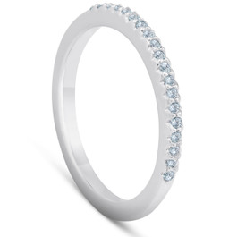 1/4ct Diamond Wedding Ring 14K White Gold Pave French Set (H, I1)