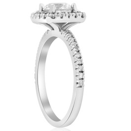 1 1/5ct Diamond Cushion Halo Engagement Ring Wedding Band Set 14k White Gold (I, I1-I2)