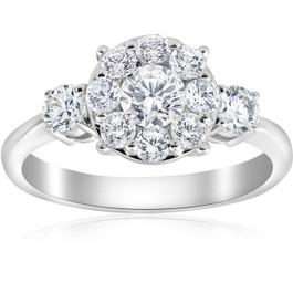 1 1/4ct Diamond Three Stone Pave Halo Engagement Ring 14k White Gold (H/I, I1-I2)