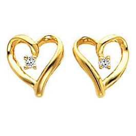 Diamond Heart Shape Earrings 14K Gold