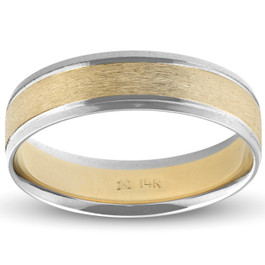 Mens 14k White & Yellow Gold Two Tone Ring Satin Wedding Band 6mm Wide