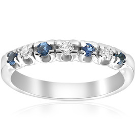 1/3ct Blue Sapphire & Diamond Wedding Ring Stackable Band White Gold 10k (H/I, I1-I2)