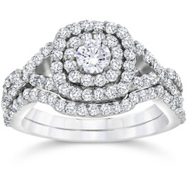1 1/10ct Cushion Diamond Halo Engagement Ring Set 10K White Gold (I/J, I2-I3)