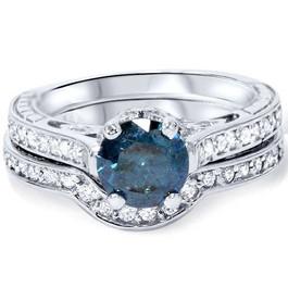 1 1/2ct Blue & White Vintage Diamond Engagement Ring Set 14K White Gold (Blue, I1-I2)