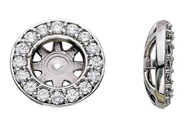 G/SI 3/4ct Diamond Earring Studs Halo Jackets 14K Fit 3/4ct Diamonds (5.5-6mm) (G-H, SI)