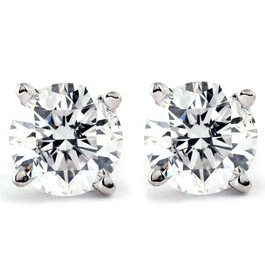 .25Ct Round Brilliant Cut Natural Diamond Stud Earrings in 14K Gold Classic Setting (G/H, I2-I3)