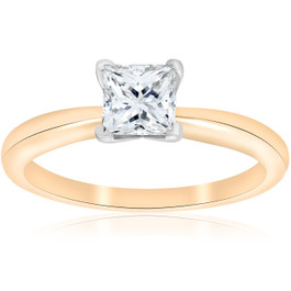 E VS 1ct GIA Certifed Princess Cut Solitaire Diamond Engagement Ring Yellow Gold (E, VS2)