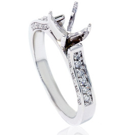 1/5ct Vintage Diamond Semi Mount Ring 14K White Gold (G/H, I1)
