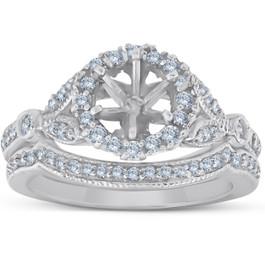 Vintage Halo Diamond Engagement Ring Setting Semi Mount Matching Wedding Band (G/H, I1)
