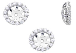 3/4ct Diamond Halo Earring Studs Jackets 14K White Gold Fits 1ct (6-6.7mm) (G-H, I1)