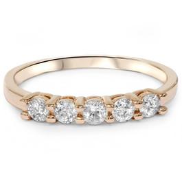 1/2ct Five Stone Diamond Ring 14K Rose Gold (G/H, I2-I3)