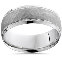 Hammered 10k White Gold 8mm Wedding Mens Band