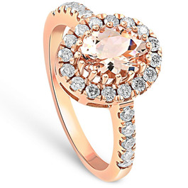 2CT Oval Morganite & Diamond Halo Ring 14K Rose Gold (H/I, SI1-SI2)