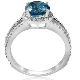 3 1/2ct Blue Diamond Halo Engagement Ring Split Shank 14k White Gold (I/J, I1-I2)