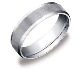 Men's 10k White Gold 6mm Plain Wedding Band with Satin Center and Beveled Sides