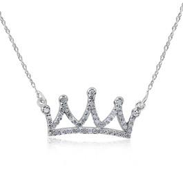 "14kt White 1/6ctW Diamond Petite Crown 16.45"" Necklace (G/H, I2)"