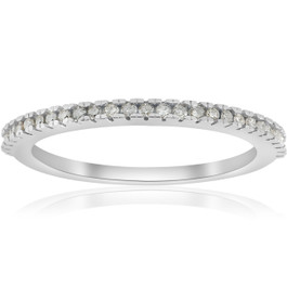 1/10ct Pave Diamond Wedding Ring 10k White Gold Stackable Womens Thin Band (H/I, I1-I2)