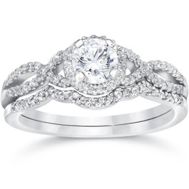 3/4ct Diamond Infinity Engagement Wedding Ring Set 14K White Gold (G/H, I1-I2)