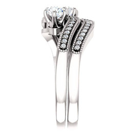 1.00CT Two Stone Diamond Forever Us Engagement Ring Set 10K White Gold (H/I, I1-I2)