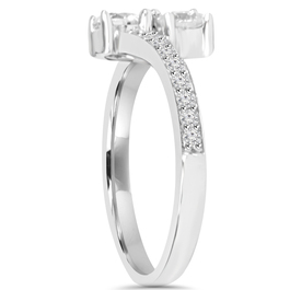 1CT 2 Stone Forever Us Lab Created Diamond Engagement Ring 14k White Gold ((G-H), VS2-SI1)