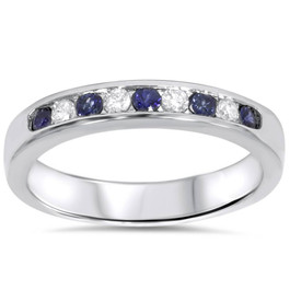 1/4ct Blue Sapphire Diamond Channel Set Wedding Ring 14K White Gold (F/G, VS2-SI1)