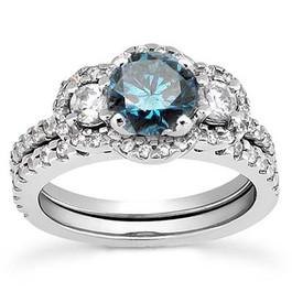 1 3/4ct Blue & White Diamond 3-Stone Ring 14K White Gold (G/H, I1-I2)