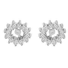 1/2ct Diamond Earrings Jackets 14K White Gold Fits 5-5.5mm Round Suds (G-H, I1)