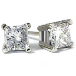 1ct Princess Diamond Studs Earrings 14K White Gold (G/H, I1)