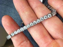 "10ct Lab-Created Diamond Tennis Bracelet 14K White Gold 7"" (F, VS)"